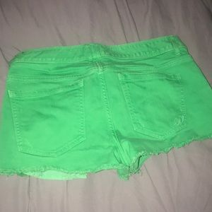 Express Shorts - Green denim jean shorts